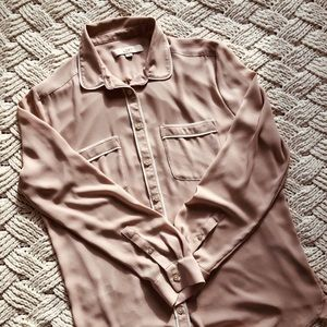 LOFT piped button down blouse